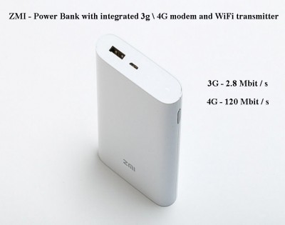 ZMI Power Bank 7800mAh + 3G Modem White
